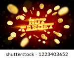 the gold word hot target ... | Shutterstock .eps vector #1223403652