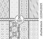 set of seamless geometrical... | Shutterstock .eps vector #1223412025
