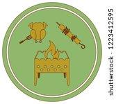 brazier kebab and chicken icon. ... | Shutterstock .eps vector #1223412595