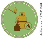 camping stove with gas bottle... | Shutterstock .eps vector #1223412598