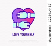 love yourself thin line icon ... | Shutterstock .eps vector #1223414452