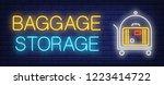 baggage storage neon sign.... | Shutterstock .eps vector #1223414722