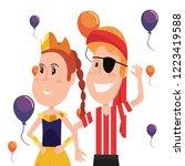 boy and girl halloween costumes | Shutterstock .eps vector #1223419588