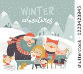 winter season background people ... | Shutterstock .eps vector #1223423845