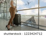woman tourist standing with... | Shutterstock . vector #1223424712