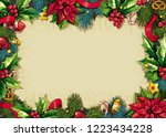colorful christmas rectangular... | Shutterstock .eps vector #1223434228