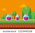 pixel video game | Shutterstock .eps vector #1223440108
