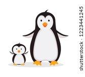 mother penguin with baby... | Shutterstock .eps vector #1223441245