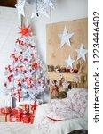 white christmas tree in the...   Shutterstock . vector #1223446402
