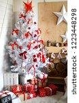 white christmas tree in the...   Shutterstock . vector #1223448298