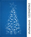 christmas tree blueprint | Shutterstock . vector #1223465362