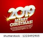 vector merry christmas 2019... | Shutterstock .eps vector #1223492905