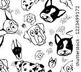 seamless pattern with dog...   Shutterstock .eps vector #1223499172