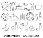 hand drawn restaurant icons set ... | Shutterstock .eps vector #1223508355