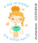 hand drawn beautiful cute girl... | Shutterstock .eps vector #1223518918