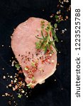 slice of raw pork loin with the ... | Shutterstock . vector #1223525788