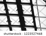 glass ceiling with metal... | Shutterstock . vector #1223527468