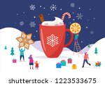 merry christmas  winter scene... | Shutterstock .eps vector #1223533675
