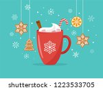 christmas  winter scene with a... | Shutterstock .eps vector #1223533705
