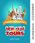 new year travel promo flyer... | Shutterstock .eps vector #1223534845