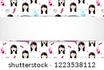 girl banner with anime emoji... | Shutterstock .eps vector #1223538112