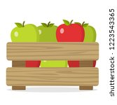 wooden box with local apples...   Shutterstock .eps vector #1223543365