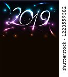 poster for new 2019 with... | Shutterstock .eps vector #1223559382