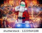 dj santa claus in luminous...   Shutterstock . vector #1223564188
