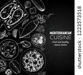 mediterranean food. top view... | Shutterstock .eps vector #1223573518