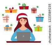 girl in santa hat and computer. ... | Shutterstock .eps vector #1223589235