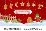 christmas winter snow covered... | Shutterstock .eps vector #1223592922