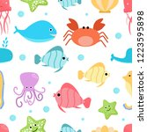 seamless pattern with cute sea... | Shutterstock .eps vector #1223595898