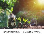 coins or money in glass jar... | Shutterstock . vector #1223597998