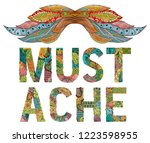 mustache ornate sketch for your ... | Shutterstock .eps vector #1223598955