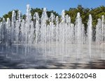 Tall Fountain Spraying From The ...