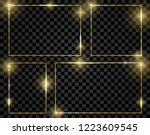 gold shiny glowing frames set... | Shutterstock .eps vector #1223609545