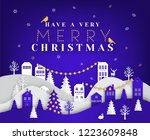 merry christmas paper cut... | Shutterstock .eps vector #1223609848