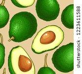 avocado vector pattern | Shutterstock .eps vector #1223611588