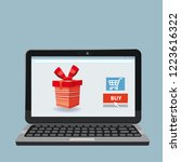 laptop  noteebok with red gift... | Shutterstock .eps vector #1223616322