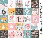 christmas advent calendar. hand ... | Shutterstock .eps vector #1223622652