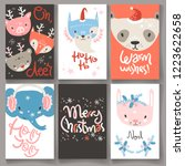 collection of winter greeting... | Shutterstock .eps vector #1223622658
