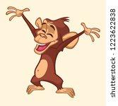 cute excited monkey cartoon... | Shutterstock .eps vector #1223622838