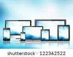 tablet pc  mobile phone ... | Shutterstock . vector #122362522
