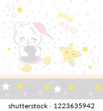 cute bear and star good night | Shutterstock .eps vector #1223635942
