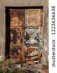 old rusty door  abandoned...   Shutterstock . vector #1223636638