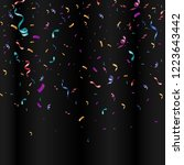 lots of colorful tiny confetti... | Shutterstock .eps vector #1223643442