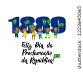 Brazil proclamation of the republic Day greeting card. text in Portuguese: Happy Proclamation of the Republic Day 1889. Graphic design to the Brazil holiday, kids icon, children logo