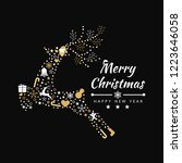 merry christmas background with ... | Shutterstock .eps vector #1223646058