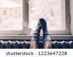 cozy winter still life  woman... | Shutterstock . vector #1223647228