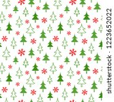 christmas seamless red pattern... | Shutterstock .eps vector #1223652022